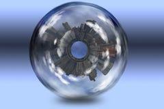 inneslutad glass sphere för stad Arkivfoto