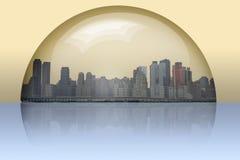 inneslutad glass sphere för stad Arkivbild