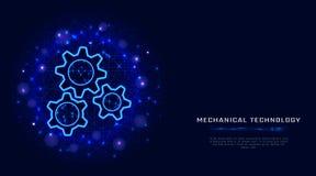 Innesta il concetto Illustrazione moderna dell'ingranaggio della struttura del cavo di vettore sul fondo poligonale blu dell'estr royalty illustrazione gratis