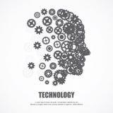 Innesta il viso umano per la tecnologia Immagini Stock Libere da Diritti