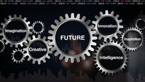 Innesti con la parola chiave, creativa, l'innovazione, l'intelligenza, l'ispirazione, l'immaginazione, il touch screen 'FUTURO' d royalty illustrazione gratis