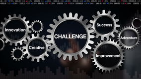 Innesti con la parola chiave, il miglioramento, l'innovazione, creativa, l'avventura, il successo, il touch screen 'SFIDA' dell'u royalty illustrazione gratis
