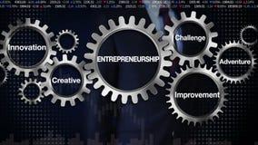 Innesti con la parola chiave, l'innovazione, creativa, il miglioramento, la sfida, l'avventura, uomo d'affari che tocca 'l'impren royalty illustrazione gratis