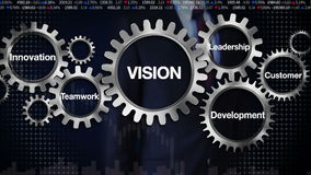 Innesti con la parola chiave, l'innovazione, lo sviluppo, il lavoro di squadra, la direzione, cliente Schermo commovente 'VISIONE illustrazione di stock