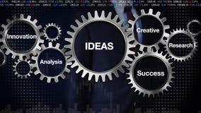 Innesti con la parola chiave, la ricerca, l'analisi, creativa, l'innovazione, successo Uomo d'affari che tocca 'le IDEE' illustrazione di stock