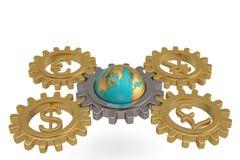 Innesti con valuta globale ed il globo su fondo bianco illu 3d Fotografia Stock