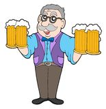 Innkeeper com cervejas Foto de Stock Royalty Free