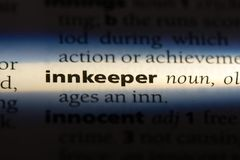Innkeeper. Word in a dictionary.  concept stock images