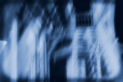 The Innkeepers House The Stairs. Spooky blue effect to have the appearance of paranormal. This is the innkeepers house at the St. Augustines Haunted Lighthouse Royalty Free Stock Images