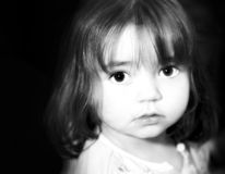 Innocence. Young Girl in Black and white with a diffuse glow Stock Photo