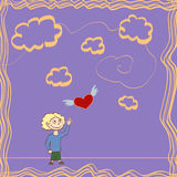 Innocence. An illustration in a cartoony style of a child chasing a red heart among orange cloulds Royalty Free Stock Photography