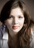 Innocent. Vintage portrait of beautiful girl with full lips Royalty Free Stock Images