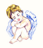 Innocent angel dreaming. Hand painted watercolor illustration, Innocent angel dreaming Royalty Free Stock Photos