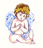 Innocent angel praying. Hand painted watercolor illustration, Innocent angel praying Stock Photo