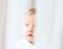Innocent baby. Portrait seen through white courtains stock image