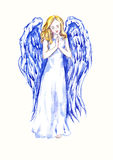 Innocent beautiful angel praying. Hand painted watercolor illustration, Innocent beautiful angel praying Stock Photography
