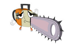 Innocent chainsaw cartoon Stock Photo