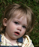 Innocent Eyes. Daughter staring up from grass with beautiful innocent eyes stock images