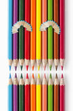 Innocent face of color pencils Royalty Free Stock Images