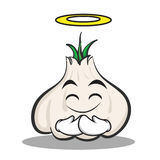 Innocent face garlic cartoon character. Vector illustration Stock Photos