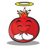 Innocent face pomegranate cartoon character style Royalty Free Stock Image