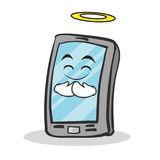 Innocent face smartphone cartoon character Royalty Free Stock Images