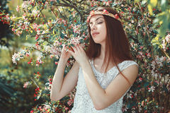 Innocent girl enjoying spring beauty Royalty Free Stock Photography