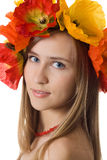 Innocent girl flower wreath Stock Photography
