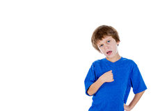 An innocent kid showing disbelief Stock Photos