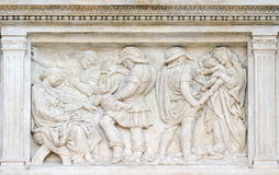 The Innocent massacre. Relief on portal of Saint Petronius Basilica in Bologna, Italy Royalty Free Stock Photography