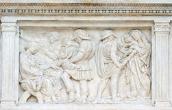 The Innocent massacre. Relief on portal of Saint Petronius Basilica in Bologna, Italy Royalty Free Stock Image
