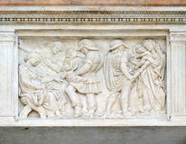 The Innocent massacre. Relief on portal of Saint Petronius Basilica in Bologna, Italy Royalty Free Stock Images