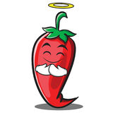 Innocent red chili character cartoon Royalty Free Stock Image