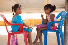 Innocent Wayuu girls playing together in Punta Gallinas Royalty Free Stock Photo