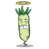 Innocent white radish cartoon character Royalty Free Stock Images