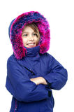 Innocent young girl enjoying cold weather Stock Photography