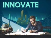 Innova il concetto innovatore della struttura del grattacielo dell'architettura illustrazione di stock