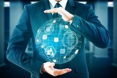 Innovación, comunicación global y concepto del analytics ilustración del vector
