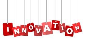 Innovación roja de la etiqueta Imagen de archivo libre de regalías