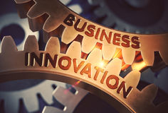 Innovación del negocio en los engranajes de oro ilustración 3D Imágenes de archivo libres de regalías