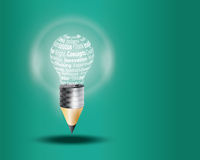 Innovate business concept made with words. On light bulb stock illustration