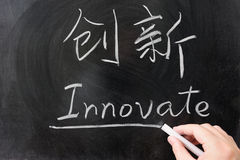 Innovate word in Chinese Stock Photo