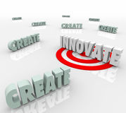 Innovate Word Target Bull's Eye Creativity New Design Idea Royalty Free Stock Photos