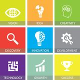 Innovatie in Bedrijfsconcepten Vlakke Pictogrammen vector illustratie