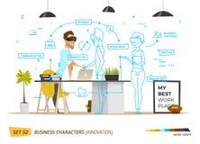 Innovatie bedrijfsstijl in bureausituatie royalty-vrije illustratie