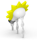 Innovatie - Team dat Gloeilamp opheft vector illustratie