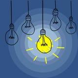 Innovatief Bedrijfsconcept met Één enkele Lichte Bulp in een Donkere Zaal Stock Foto