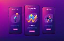 Innovatief oplossingsapp interfacemalplaatje stock illustratie