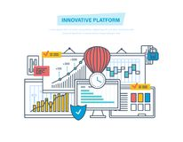 Innovatief platform Innovatie, marketing onderzoek, analyse Technologisch platform, bedrijfssucces Stock Fotografie