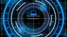 Innovatieve blauwe head-up computer met netten Vector Illustratie
